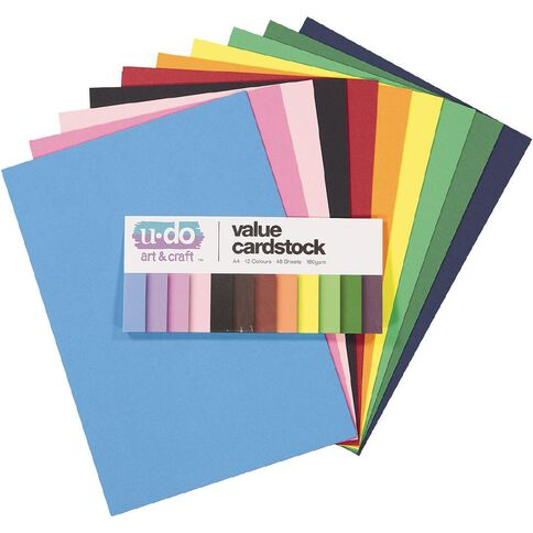 U-Do Value Cardstock Smooth 180gsm Brights 48 Sheets A4