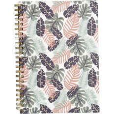 Uniti Fun & Funky Spiral Hardcover Notebook Purple Palm A4