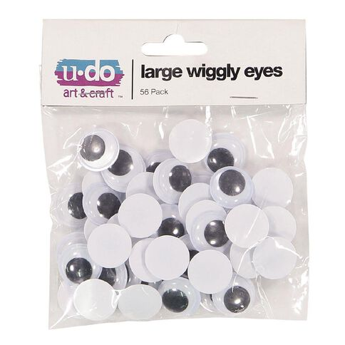 U-Do Wiggly Eyes Large White 56 Pack
