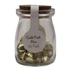 Uniti Gold Push Pins In Jar 125 pc Gold