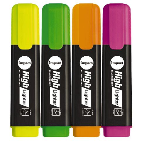 Impact Highlighters 4 Pack Assorted