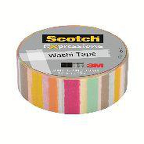 Scotch Washi Craft Tape 15mm x 10m Blurred Lines Red