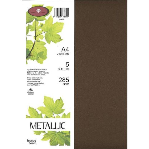 Direct Paper Metallic Board 285gsm 5 Pack Bronze A4