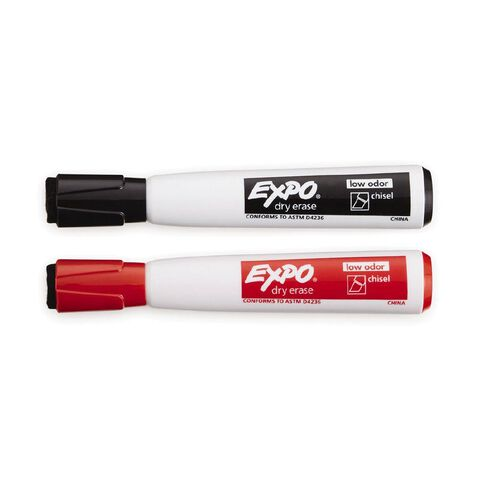 Expo Magnetic with Eraser Low Odor Chisel Assorted 2 Pack