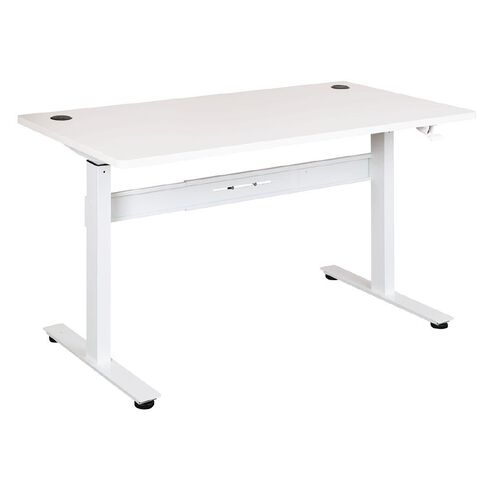 Jasper J Emerge 1500 Straight Pneumatic Height Adjustable Desk Wht/Wht
