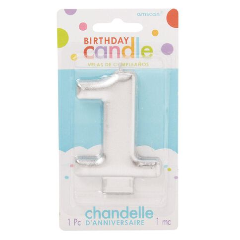 Candle Metallic Numeral #1 Silver