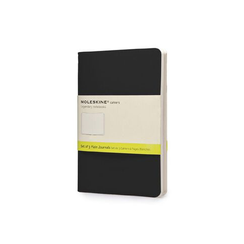 Moleskine Cahier Notebook Unruled 3 Pack Black