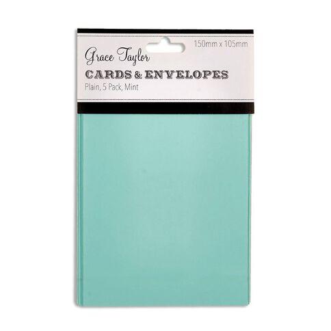 Grace Taylor Cards & Envelopes 15 x 10cm 5 Pack Plain Mint Green
