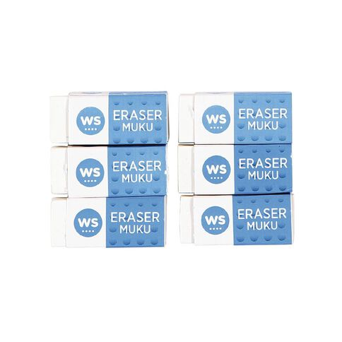 WS Eraser Small 6 Pack White