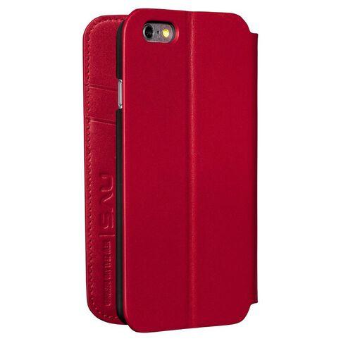 NVS Premium Leather Wallet Folio iPhone 6 Plus/6S Plus Red