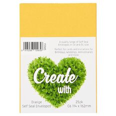 Create With C6 Envelopes 25 Pack Orange