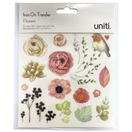 Uniti Iron on Transfer Stickers Floral 1 Sheet