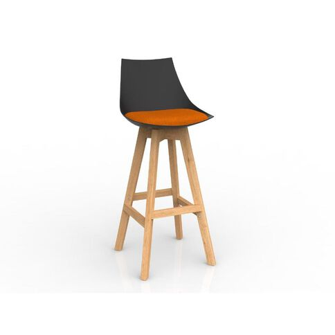 Luna Black Sunset Oak Base Barstool Orange