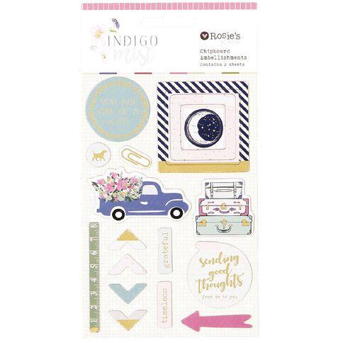 Rosie's Studio Indigo Mist Chipboard Embellishments 2 Sheets