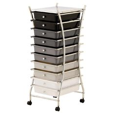Workspace 10 Draw Chrome Trolley Black/Grey