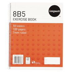 Impact Exercise Book 8B5 7mm Ruled Spiral 50 Leaf Wiro