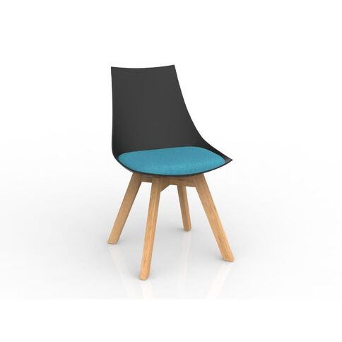 Luna Black Ice Blue Oak Base Chair Black/Blue