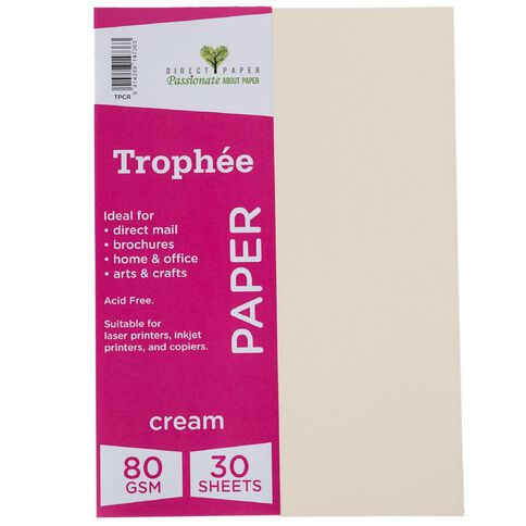Trophee Paper 80gsm 30 Pack Cream A4