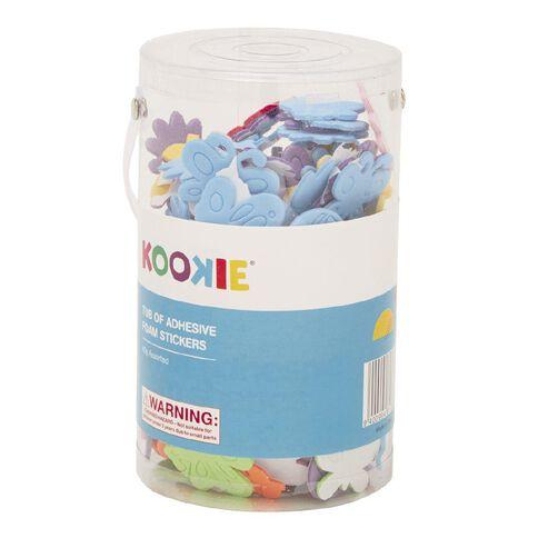 Kookie EVA Sticky Back Shapes Plastic Tub Multi-Coloured 10 Pack
