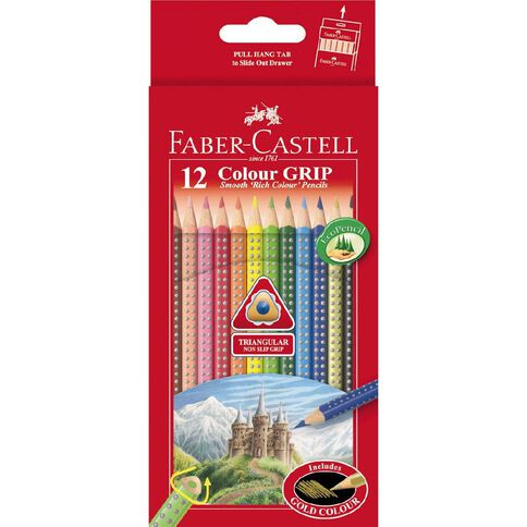 Faber-Castell Coloured Pencils Grip Full Packet Multi-Coloured 12 Pack