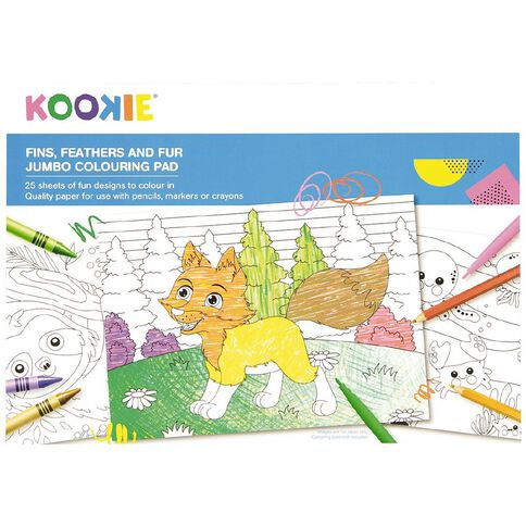 Kookie Jumbo Colouring Pad Animals 25 Sheet A3