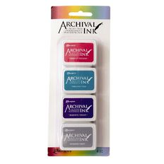 Ranger Archival Mini Ink Pads 4 Pack Magenta/Teal/Purple