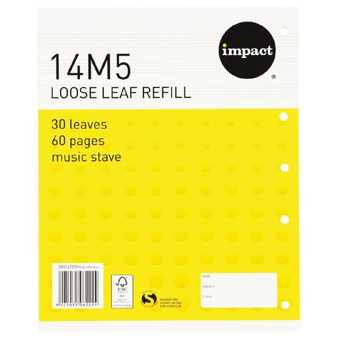 Impact Pad Refill 14M5 Music Stave 30 Leaf Punched Yellow