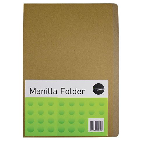 Impact Manilla Folders 100 Pack Kraft A4