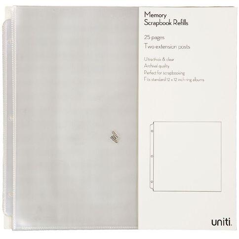 Uniti Album Refills 12x12 25pk Clear