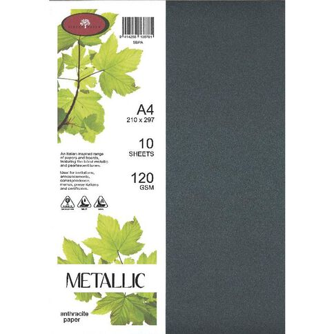 Direct Paper Metallic Paper 120gsm 10 Pack Anthracite A4
