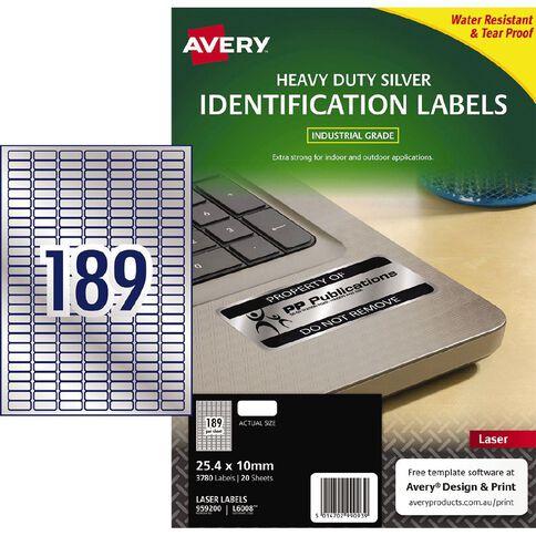 Avery Heavy Duty Labels Silver 3780 Labels
