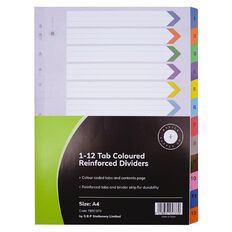 Office Supply Co 1-12 Tab Coloured Reinforced  Dividers