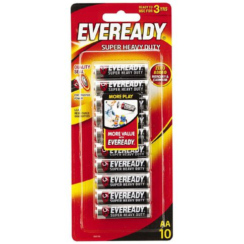 Eveready Super Heavy Duty Batteries AA 10 Pack