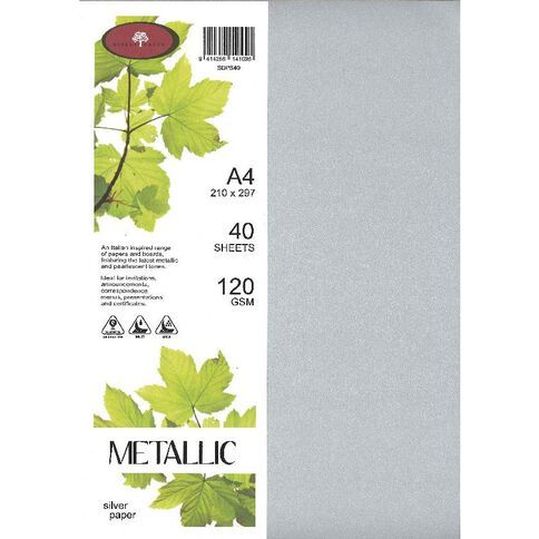 Direct Paper Metallic Paper 120gsm 40 Pack Silver Silver A4