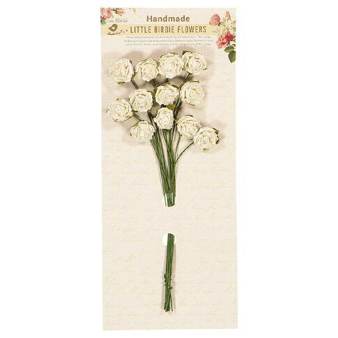 Little Birdie Curly Rose Bunch 20mm White 12 Piece