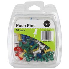 Impact Push Pins 50 Pack Assorted