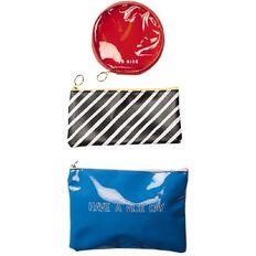 Uniti Fun & Funky Colour Block Pencil Case Blue Stripes & Red 3 Pack