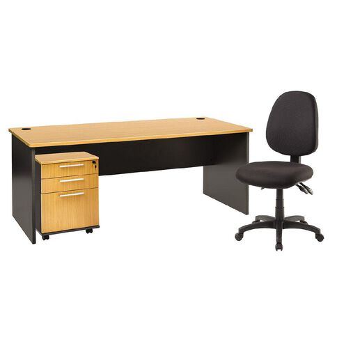 Jasper J Emerge 1800 Desk + Mobile & Chair Bundle Beech/Ironstone