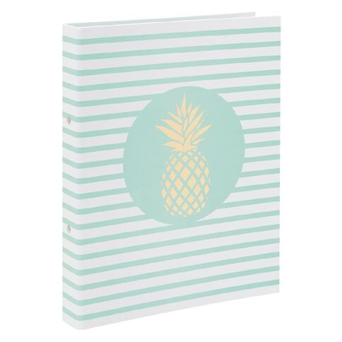 Uniti Tropical Pinneapple White with Green Stripes Ringbinder A4