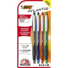 Bic Atlantis Ball Pen 4 Pack Assorted