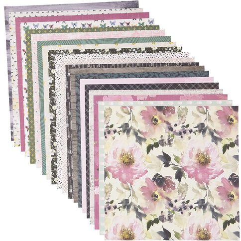 Rosie's Studio Indigo Mist 12x12 Designer Paper Pack 20 Sheet Mix