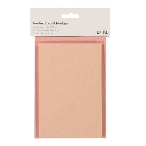 Uniti Cards & Envelopes Pearlised Blush 6 Pack