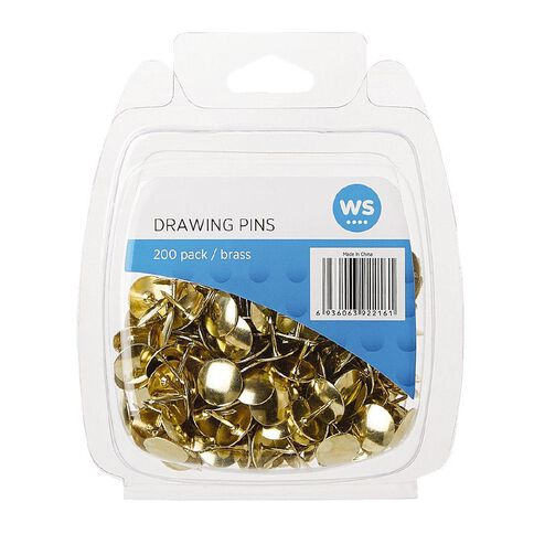 WS Drawing Pins 200 Pack Brass