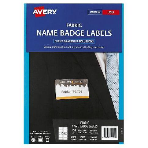 avery fabric name badge laser labels warehouse stationery nz