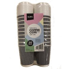 SURV. Designer Coffee Cups with Lids 235ml 20 Pack