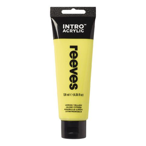Reeves Intro Acrylic Paint Lemon Yellow Yellow Light 120ml