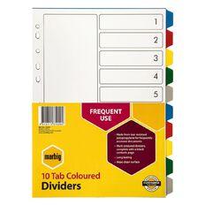 Marbig Divider 10 Tab PP Coloured Multi-Coloured A4