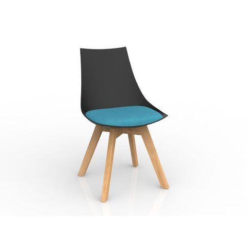 Luna Black Ice Blue Oak Base Chair Black/Blue