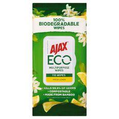 Ajax Eco Multipurpose Antibac Biodegradable Wipes Lemon 110 Pack