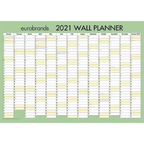Eurobrands 2021 Wall Planner Laminated (700x990mm) Large